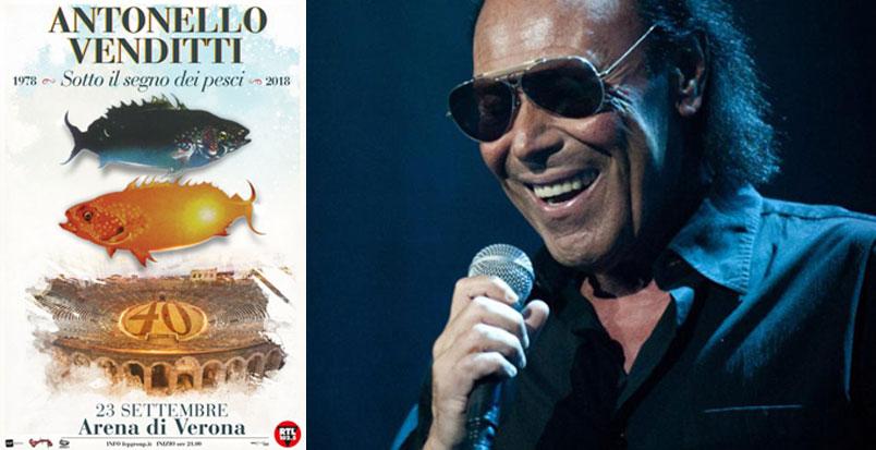 """Antonello Venditti: il 23 settembre all'Arena di Verona il concerto """"Sotto il Segno dei Pesci 2018"""""""