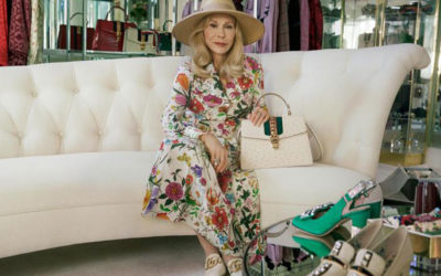 Faye Dunaway in posa in campagna Gucci