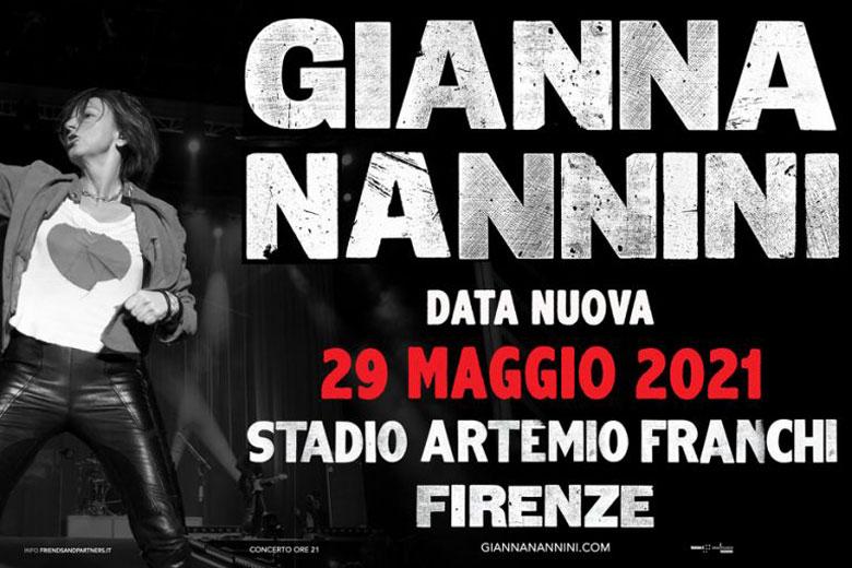 Gianna Nannini: posticipato al 29 maggio 2021 live allo Stadio Artemio Franchi di Firenze